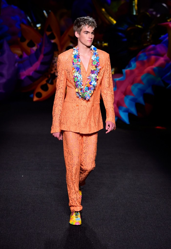 Presley Gerber walks the runway at the Moschino Spring/Summer 17 Menswear and Women's Resort Collection