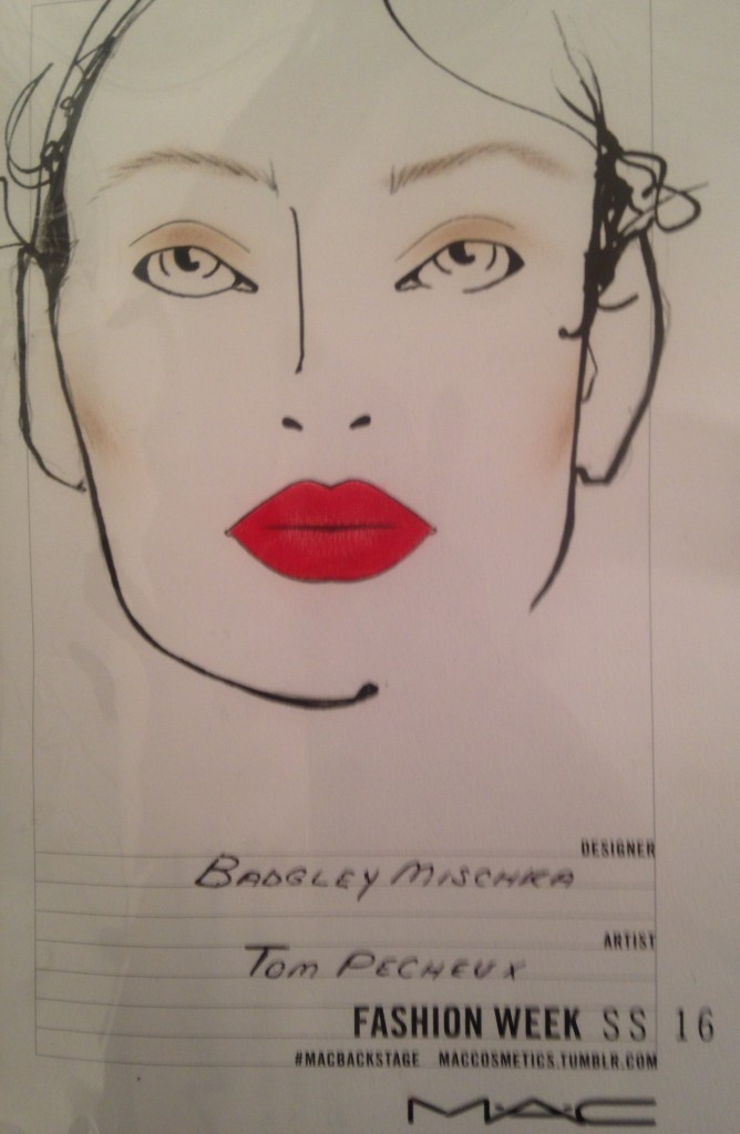 Badgley Mischka Make Up Backstage NYFW SS16- Tom Pecheux For Mac Cosmetics