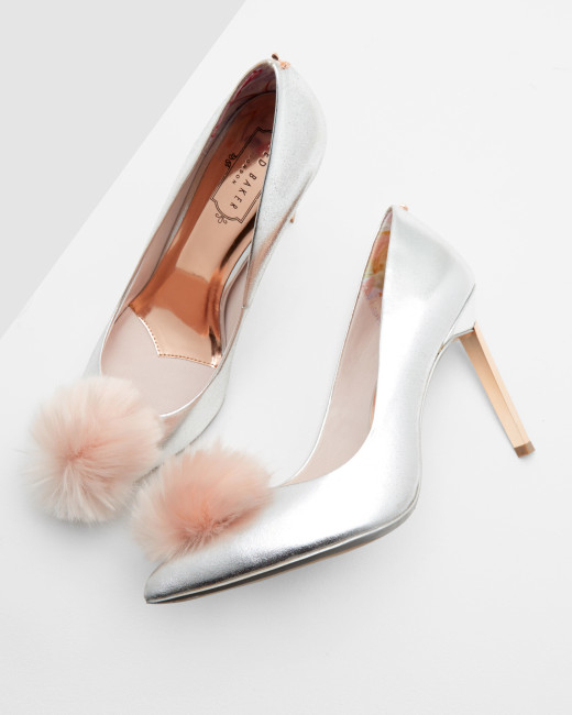 Ted Baker Metallic Shoes witha fur pompoms