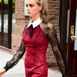 Cara Delevingne in Red Silk And Lace