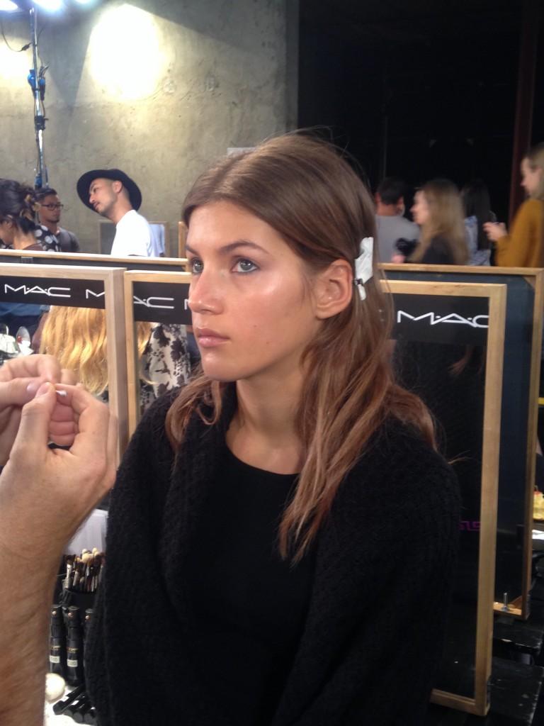 Lucia Peroni Backstage At Emilio Pucci/ Mac Cosmetics
