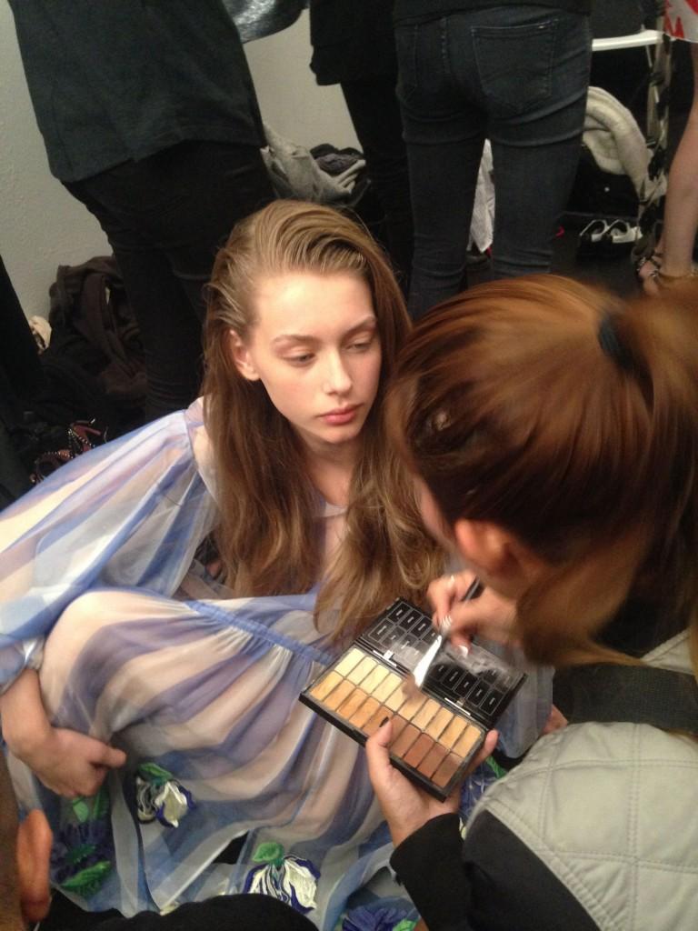 Tom Pecheux Backstage at Blumarine SS16 Make Up Mac Cosmetics