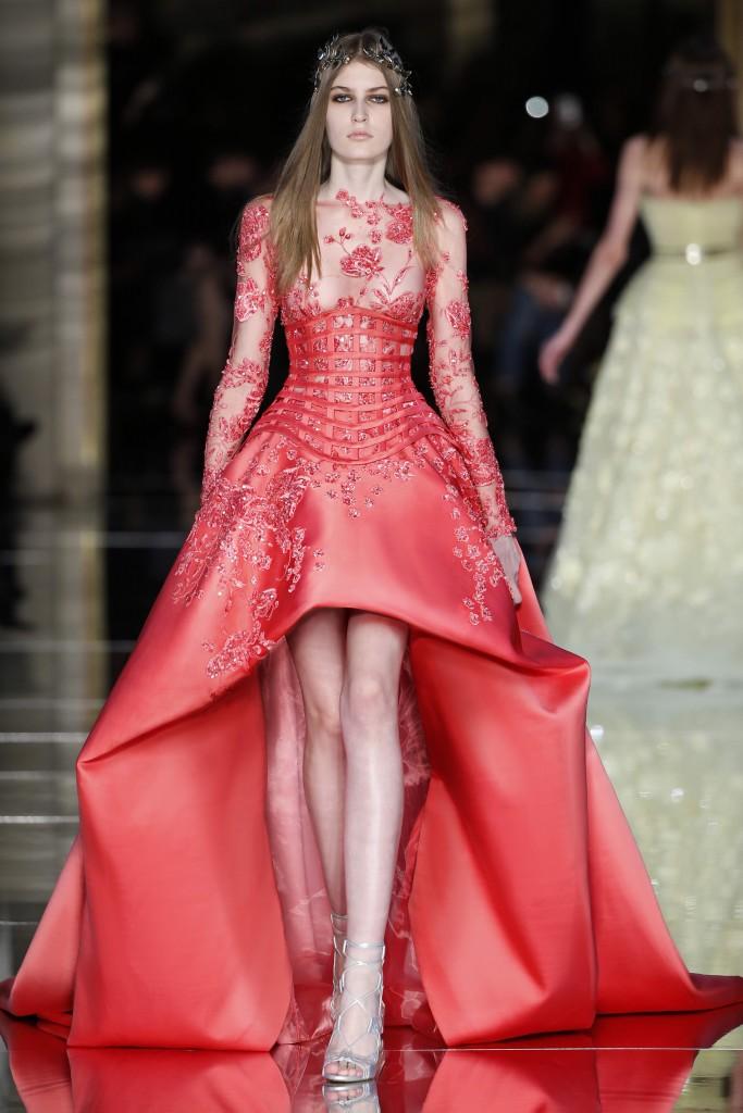 Zuhair Murad Couture SS16 Paris PFW Red Dress Runway