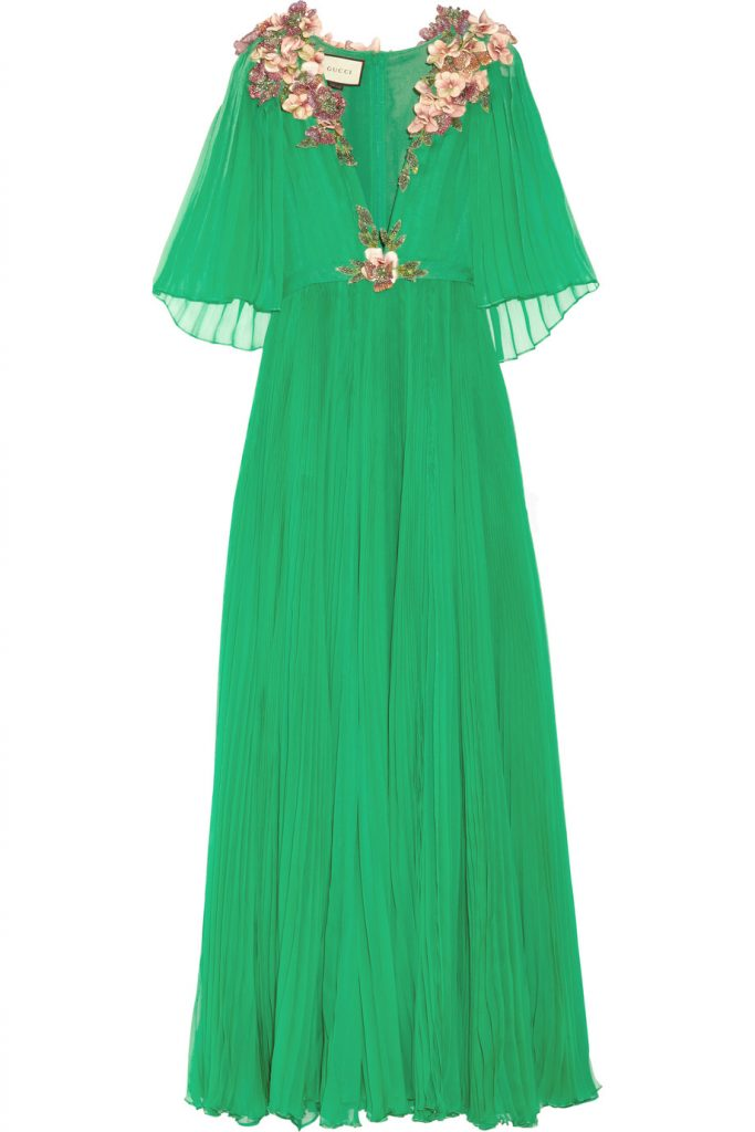 Gucci Embellished plissé silk-chiffon gown