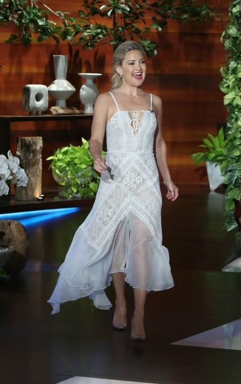 Kate Hudson at the Ellen Show in Tadashi Shoji