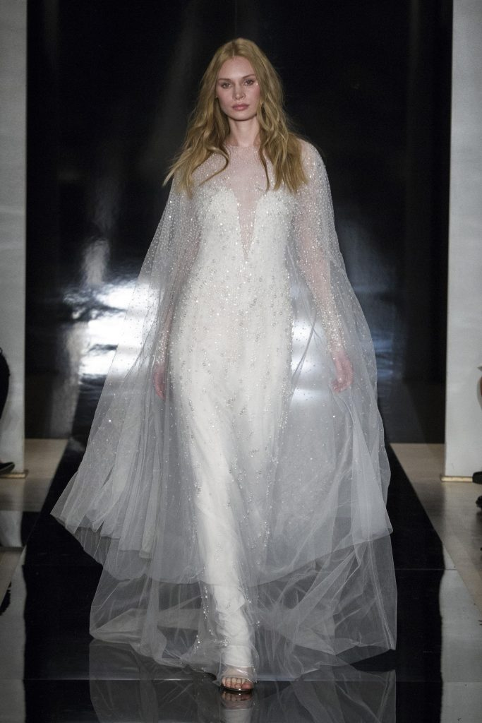 Capes- Reem Acra wedding dress bridal trend SS17