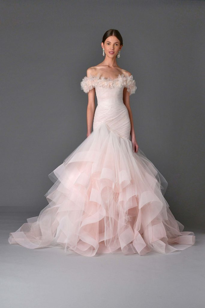 Marchesa pink wedding dress with ruffle wedding bridal trends