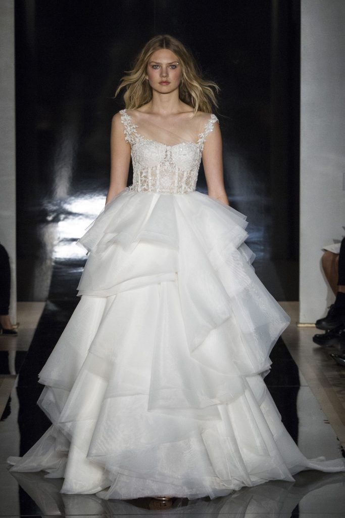 Reem Acra Bridal Wedding Dress with ruffles
