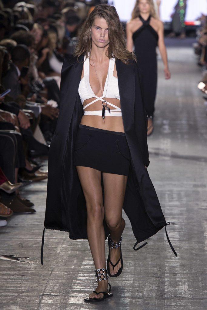 Alexander Wang SS17 model on runway wearing bra summer trends