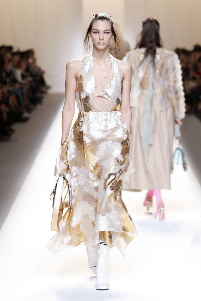 Fendi SS17 model on runway wearing bra summer trends