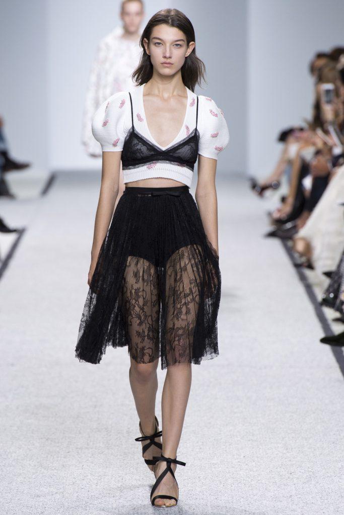 Giambattista Valli SS17 model on runway wearing bra over top summer trends
