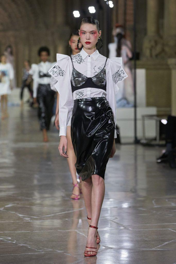 Kenzo SS17 model on runway wearing bra over top summer trends
